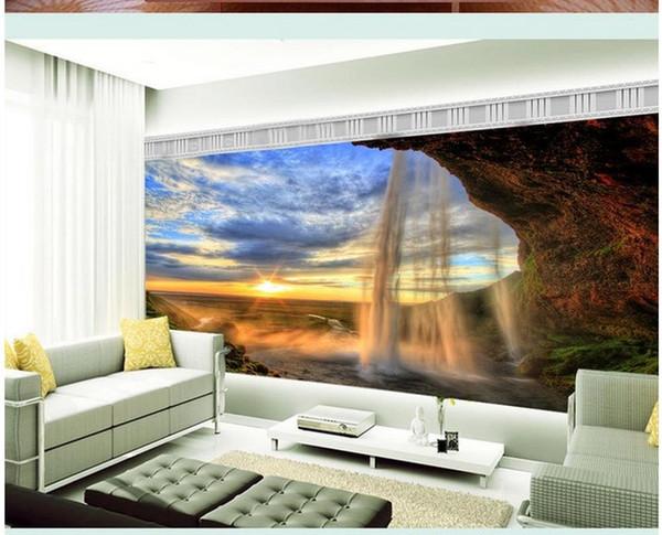 Personnalisé photo fond d'écran Grand 3D canapé TV fond d'écran fond d'écran mural Baiyun Chute d'eau Sun 3d papier peint mural 201516108