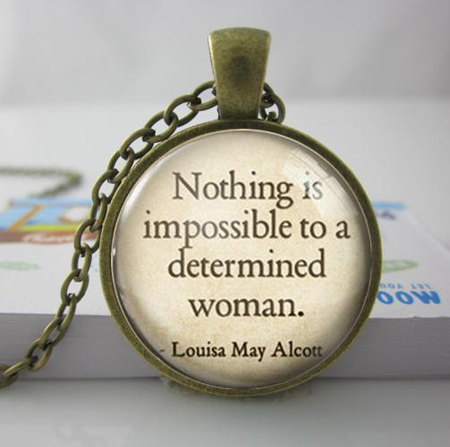 Free Shipping Nothing is impossible Necklace Victorian Book necklace Glass Photo Necklace A55
