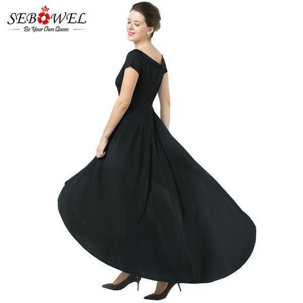 Großhandel Sebowel 2017 Sommerkleid Elagant Burgund High Low Saum  Schulterfrei Party Kleid Formale Frauen Club Maxi Langes Kleid Vestidos  Q1113 Von ...