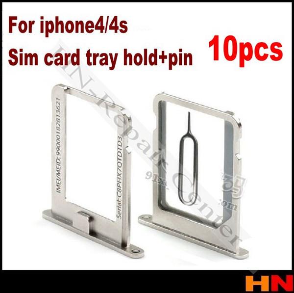 Wholesale-10pcs Original Sim Card Slot Tray Holder for iPhone 4/4s 4g 4gs + gift sim pin