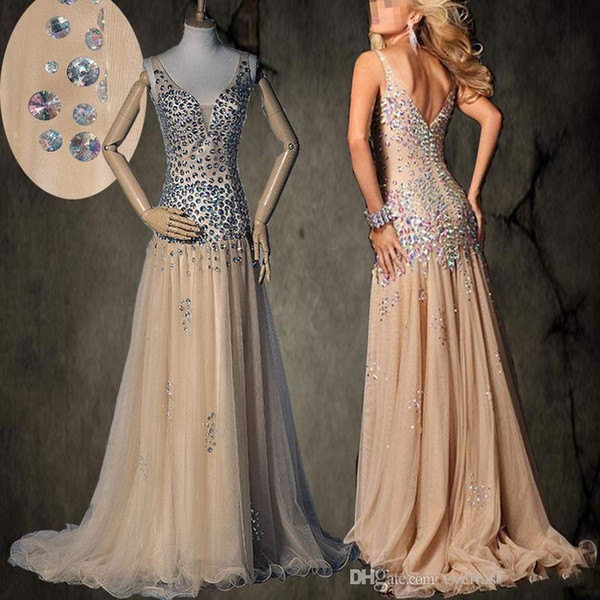 New In Stock Spaghetti Straps AB Colorful Beading Dropped Waistline Champagne Prom Dresses Soft Tulle Long Evening Gown Party Dresses 415