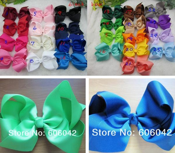 2016 new 32pcs/lot girls 6 inch big ribbon bows Girls hair accessories hair bow without clip hot selling bows for gir