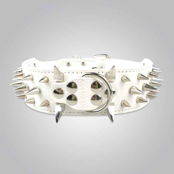 """Fast shipping 10pcs/lot,Neck for 17-20"""" White Genuine Leather Spiked Studded Dog Collars for Pitbull Collars"""