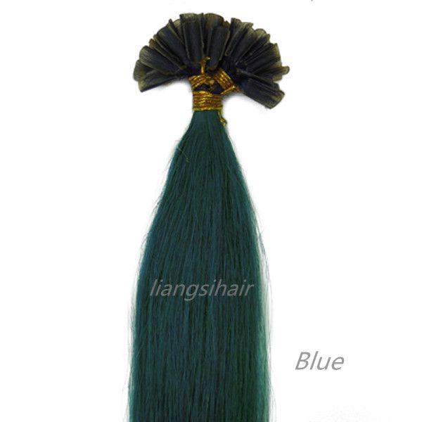 "Brazilian Hair Extensions 15""-22"" 100s Blue color, Nail-hair extensions Brazilian Indian Peruvian Malaysian U-tip Remy Human Hair Bundles"