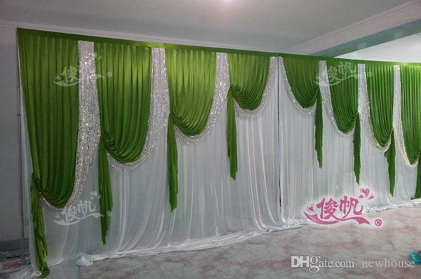Fast Delivey 3x6m Classic White Wedding Backdrop with Green Beatiful Sequins Swag Wedding Drape and Curtain Wedding decoration