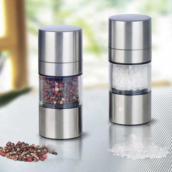 Salt Pepper Mill Grinder Portable Stainless Steel Manual Salt Pepper Spice Mill Grinder Kitchen Accessaries Stainless Steel Manual +B