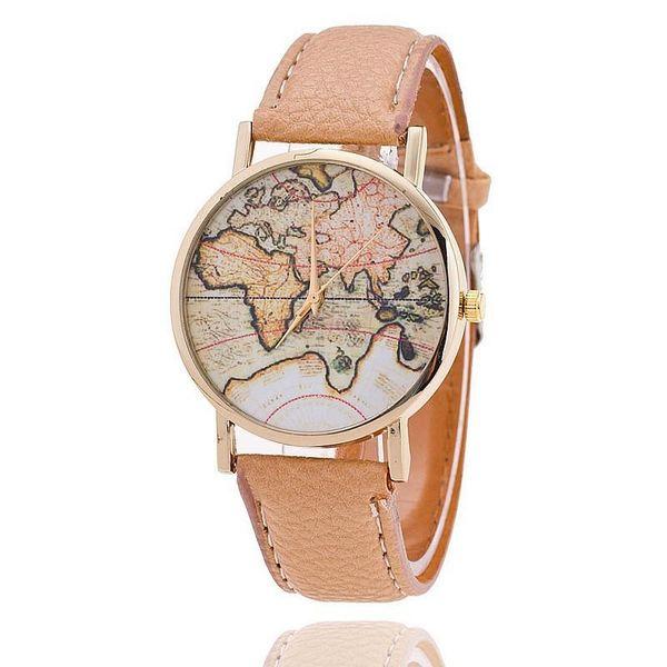 Ücretsiz kargo 2016 Yeni Sıcak Satış Moda Dünya Haritası kemer kadınlar için moda kuvars İzle Cenevre Kol Saati 1000 adet