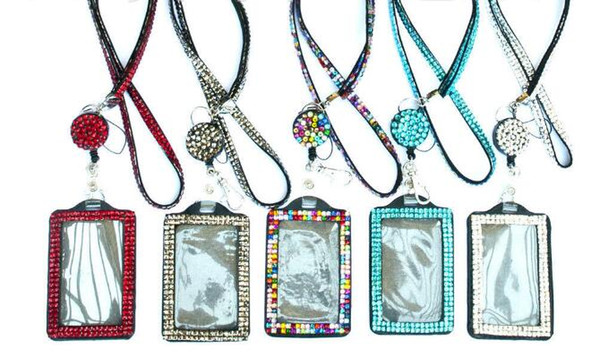 top popular Rhinestone Bling Lanyard Crystal Diamond Necklace neck strap with Horizontal Lined ID Badge Holder and Key Chain for Id key cell Phone 2020