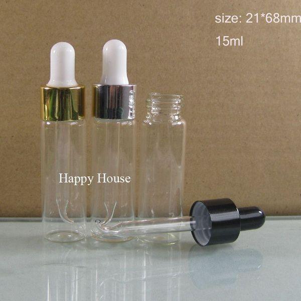 Envío gratis - 24x 15ml Mini botella de cuentagotas transparente, 15cc cuentagotas transparente, cuentagotas, 1 / 2oz recipiente de muestra de vidrio,