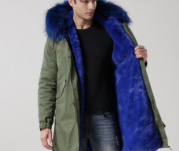 MEIFENG brand Blue raccoon fur trim outdoor men snow fur coats blue rabbit fur lining army green canvas parkas with ykk zipper