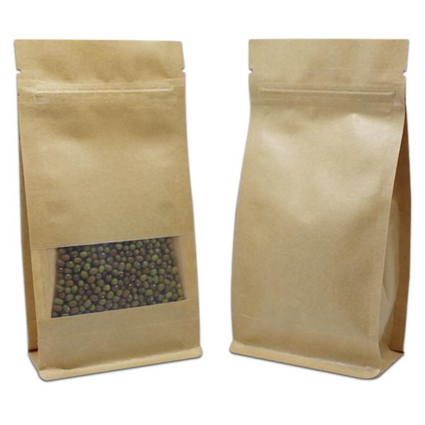 100Pcs Brown Kraft Paper Food Packaging Zipper Bag Side Gusset Stand Up Zip Lock Window Pouch Coffee Tea Dried Flower 2 Style