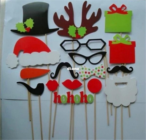 Fashion Hot 17 pcs/lot DIY Photo Booth Props Mustache Lip Hat Antler Gift Stick Christmas Party