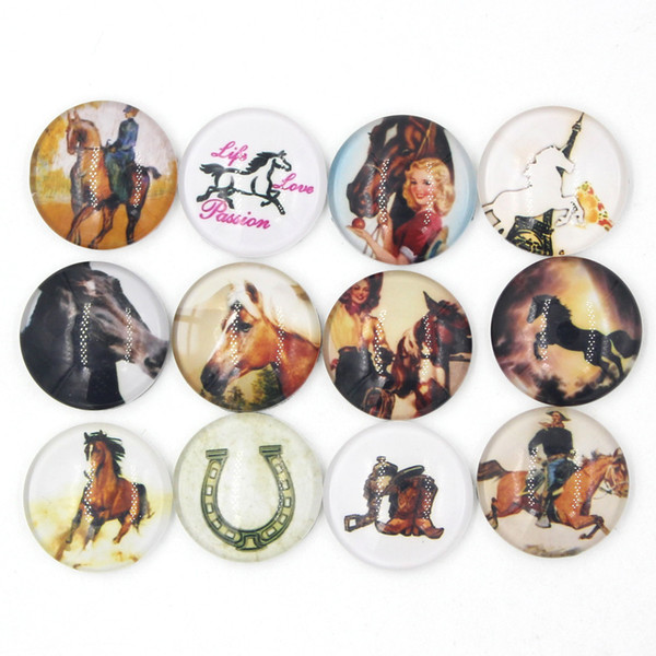 best selling NEW Arrival 18mm Cabochon Glass Stone Button Equestrian Cowgirl Horse Horseshoe Buttons for Snap Bracelet Necklace Ring Earring Jewelry