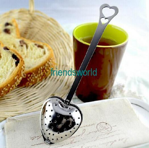 """""""Tea Time"""" Heart Tea Infuser Heart-Shaped Stainless Herbal Tea Infuser Spoon Filter Coffee & Tea Tools Free Shipping"""