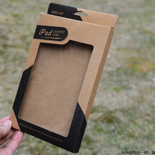 2015 hot ipad retail boxes Open window Case Retro Brown kraft paper tablet PC package Packing for ipad air 5 6 mini 2 3 4 7.9 9.7 inch