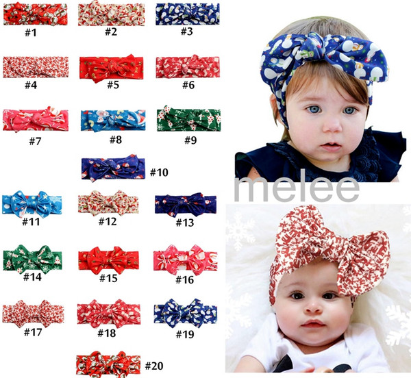 best selling 20 color Xmas INS Girls Bow Headband Bohemian bunny Hairband lepoard flower deer snowman sant printed Baby Headwrap free ship