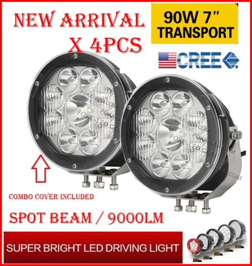 """DHL 4PCS 7"""" 90W 9LED*10W CREE LED Driving Work Light Round Offroad SUV ATV 4WD 4x4 Transport Spot Beam 10-60V 9000lm Combo Protection Cover"""