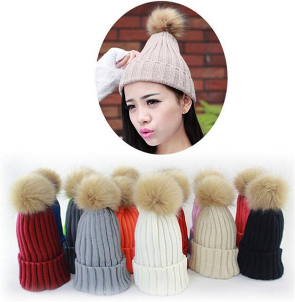 200pcs HOT 8 colors Fashion Women Cap Beanie Classic Tight Knitted Fur Hat Winter Beanie Headgear Head Warmer christmas gift D472