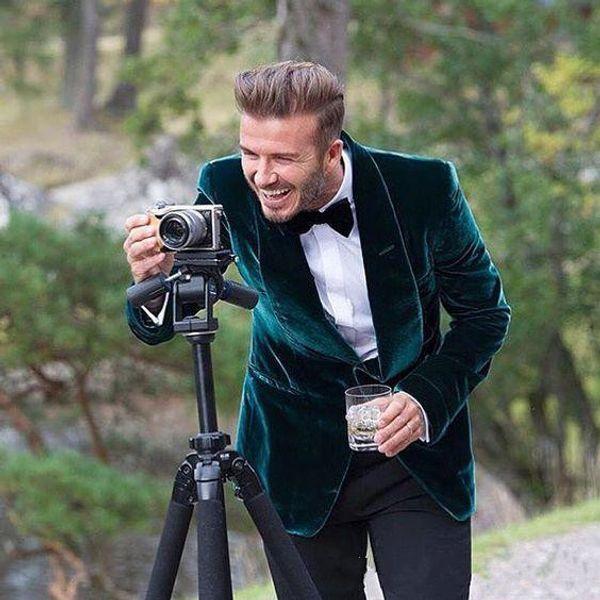 Hunter dernières manteau pantalon conçoit velours châle revers tuxedo personnalisé costume de marié hommes costumes de mariage 2 pièces Slim Fit veste + pantalon