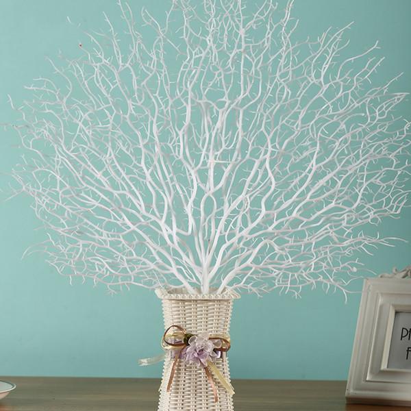 Flores de plástico Rama de árbol artificial Pavo real Rama de coral Plantas La boda Decoración del hogar Adorno Fotografía Accesorios Decoración para el hogar