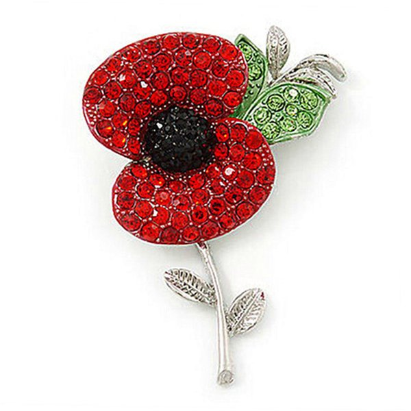 Rhodium Silver Plated Red and Black Crystal Rhinestone Flower Leaf Poppy Brooch Pins For Remembrance Day