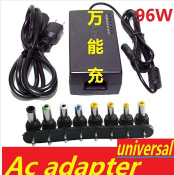 best selling Hot Universal 96W Laptop Notebook 15V-24V AC Charger Power Adapter with 8 connectors with retail box Free Shipping