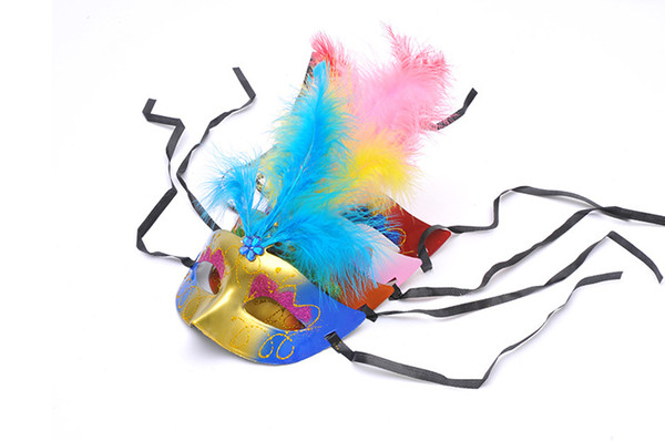 Painted light emitting three feathers fluff mask dance mask mask new toy stall wholesale supply