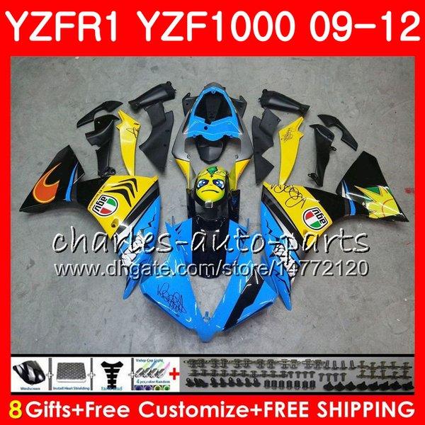 Bodywork For YAMAHA YZF 1000 R 1 YZF-1000 YZF-R1 09 Graffiti blue 12 Body 85NO5 YZF1000 YZFR1 09 10 11 12 YZF R1 2009 2010 2011 2012 Fairing