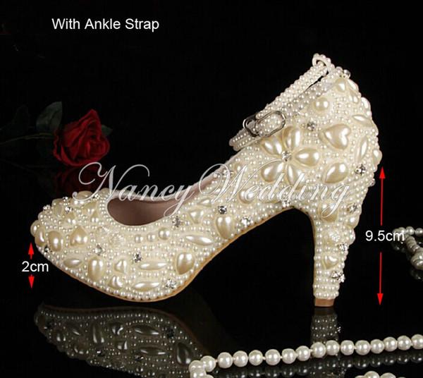 Luxe Fermé orteil Ivoire perles perles avec des chaussures à talons bas de mariage Chaussures de mariée Robe avec des chaussures à bride à la cheville pour la cérémonie de mariage