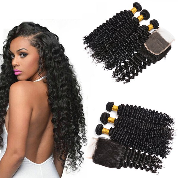Brazilian Deep Wave Human Hair Weave 3 Bundles With Closure 7A Unprocessed Peruvian Malaysian Virgin Hair Deep Curly Wavy Hair Extension