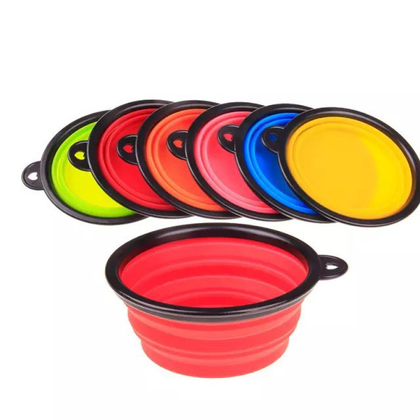 top popular Pet Supplies Bowl Dog Cat Feeders Bowls Dishes Drinking Outdoor Portable Collapsible Silicone Caliber 13CM Height 5.5CM Bottom Diameter 9CM 2021