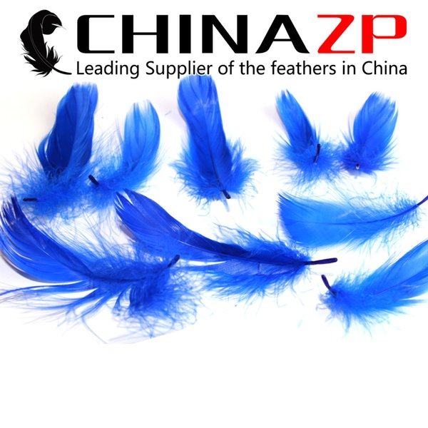Gold Manufacturer CHINAZP Crafts Factory 8~15cm(3~6inch) Length Graceful Dyed Royal Blue Goose Loose Feathers for DIY Decorations