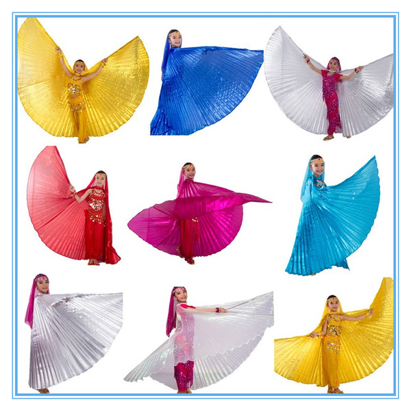 best selling 9 color 1pc belly dance isis wings   belly dance wings  bellydance accessories GOLD SILVER WHITE for children kids girls (NO sticks)