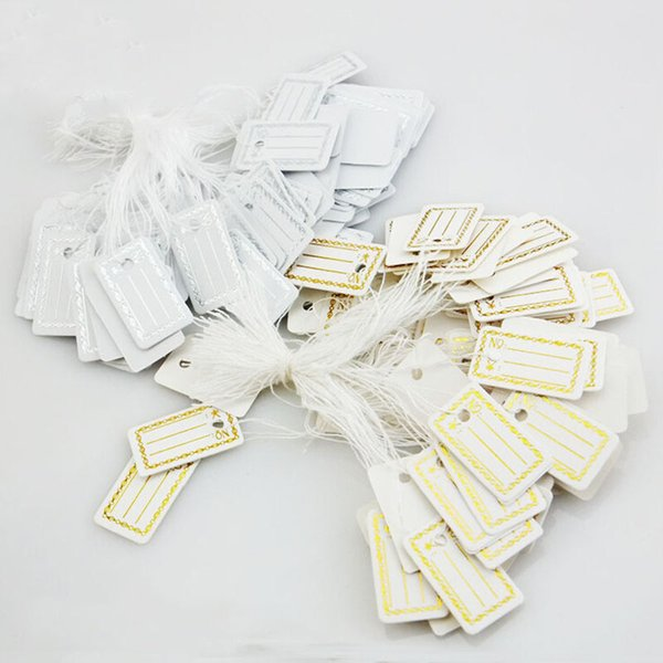 Wholesale- Wholesale 100Pcs Kraft Paper Tags Label Luggage Wedding Note +String DIY Blank price Hang tag Kraft Gift Silver Gold Colors