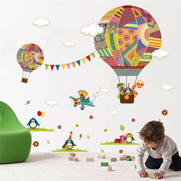 Balão de Ar Quente colorido Urso Girafa Quarto de Berçário Adesivo de Parede Para Quartos de Crianças Quarto das Crianças Dos Desenhos Animados Decalques de Parede Mural