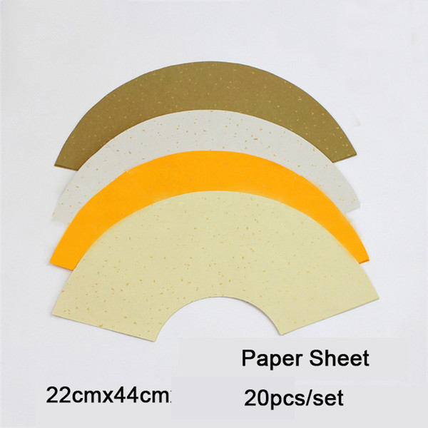 top popular Wholesale-20pcs set Fan-Shape Blank Canvas Chinese Painting Paper for Painting & Making the Fan 2021