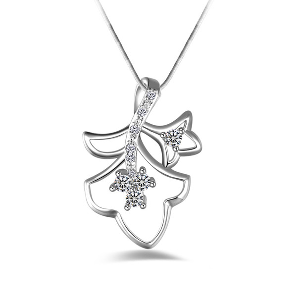 Free shipping fashion high quality 925 silver Double leaves White diamond jewelry 925 silver necklace Valentine's Day holiday gifts hot 1666