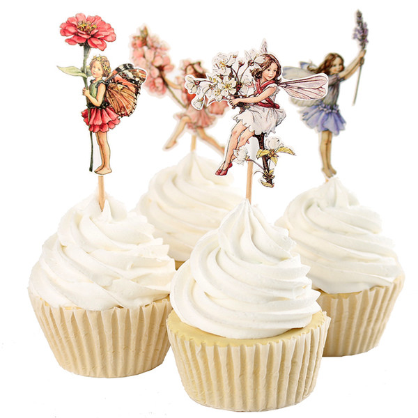 120pcs/lot Flower Fairy Flowers and Little Girl Cake Decorating Tools Fruits Cupcake Inserted Card Stands Baking Supplies for Kids