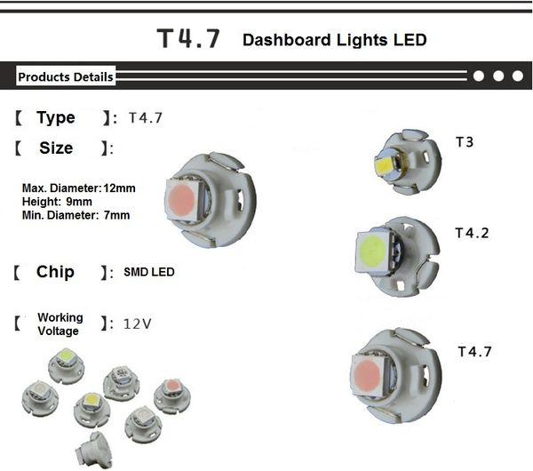 Sıcak 20x Mavi / Yeşil / Kırmızı / Buz Mavisi / Pembe / Beyaz / Sarı T4.7 SMD Dashboard Uyarı Göstergesi Işıkları LED Ampuller LLCA0058