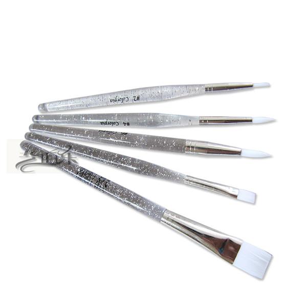All'ingrosso-2015 Real Pinceles Oleo rifornimenti di arte di cristallo di qualità trasparente asta pennello vernice cristallizza penna pittura a olio 5 set di mano