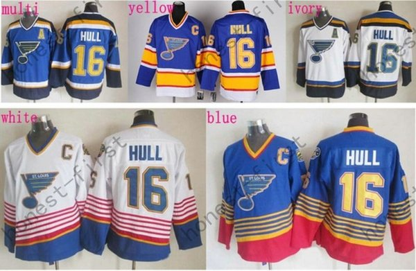 d44d7a2c4 Discount St. Louis Blues  16 Brett Hull Jersey CCM Blue Red White Cheap  Stitched Hockey Jerseys C Patch Best Quality Mix Order