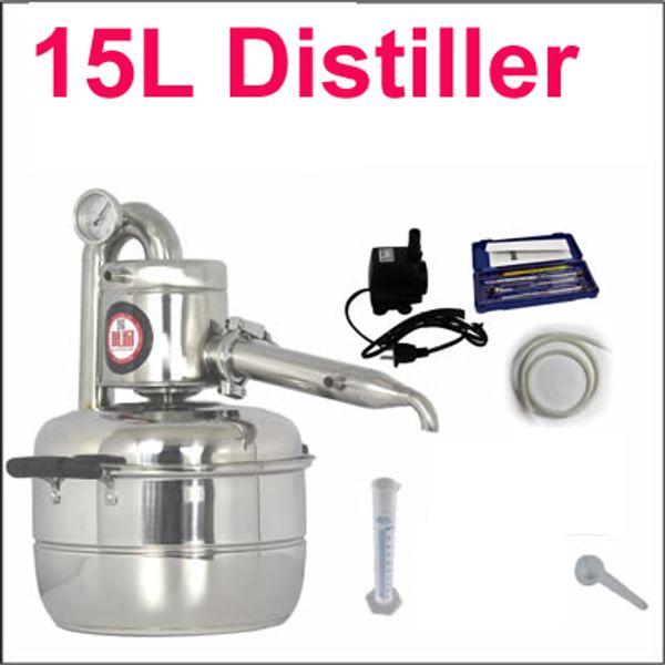 15L Distile Bar Ev tesisleri şarap limbeck distile su baijiu büyük kapasiteli votka yapımcısı demlemek alkol viski