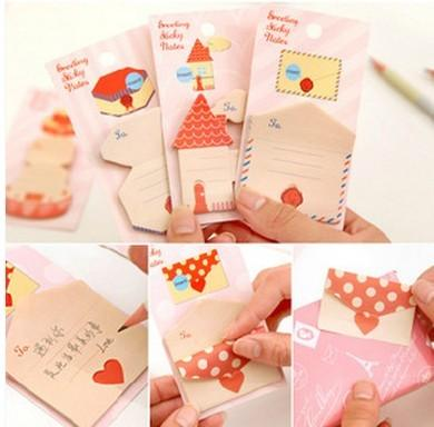 best selling Free Shipping  New cute Envelope shape sticky   Notepad   sticky note Memo   message post   Wholesale