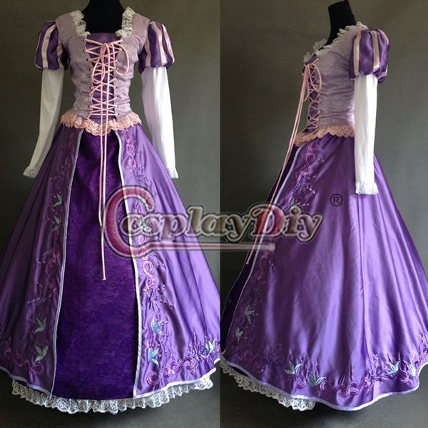 Custom Made Movie Tangled Rapunzel Princess Dress Deluxe Embroidered Costume Adult Womenu0027s Fantasy Fancy Cosplay Costume & Custom Made Movie Tangled Rapunzel Princess Dress Deluxe Embroidered ...