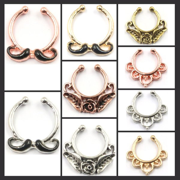 10pcs mixed punk enamel beard flower faux piercing nez alloy gold and silver nose clip on fake septum ring Free shipping N0035