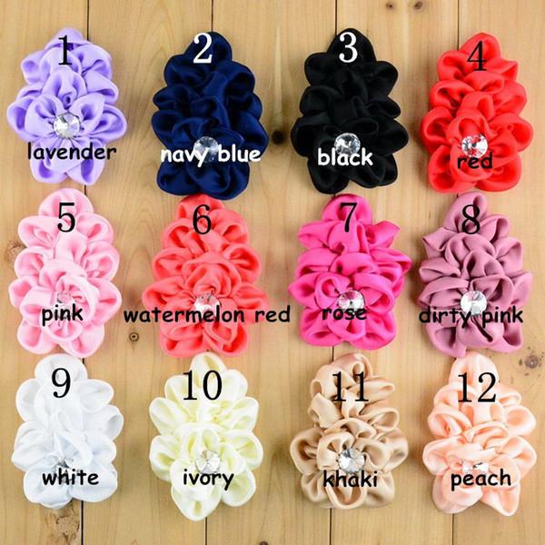 Commerce de gros vendant des enfants Satin Flower bébé bonnets Flower Brooch 12 gammes de couleurs d'enfants avec des bandeaux en épingle à cheveux pour les cheveux des filles
