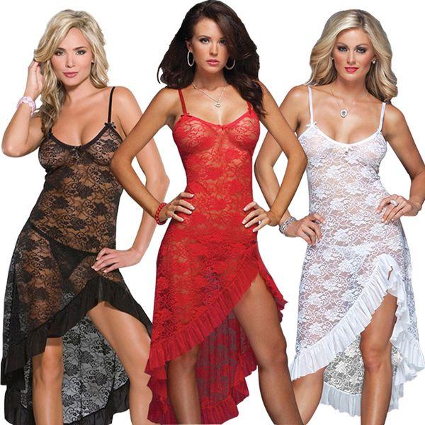 Sexy Lingerie Dress Women Lace Dress Long Gown Sexy Sleepwear Sheer Mesh Bridal Babydoll Plus Size S-6XL Sheer Long Gown