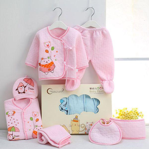 Yenidoğan bebek iç çamaşırı, çocuk giyim, 0-3 ay bebek hediye seti, saf pamuk sonbahar ve kış giyim 7 parça setleri toptan