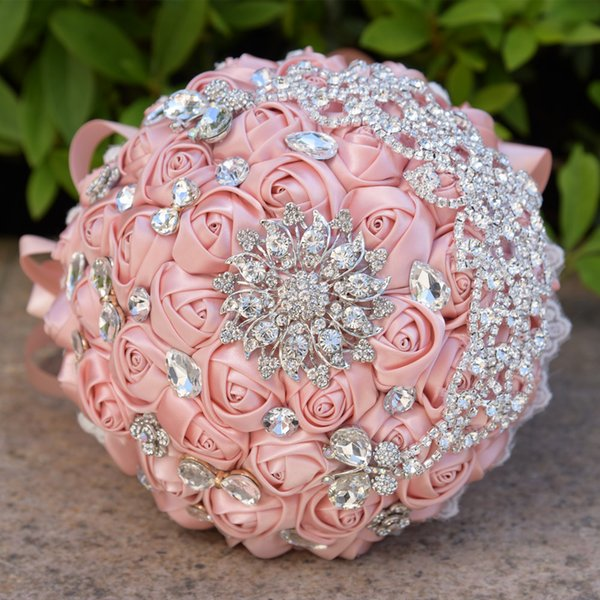 Jane Vini Luxury Crystal Bridal Wedding Flower Bouquet Blingbling Diamond Rhinestone Wedding Bouquets For Brides Silk Roses Satin Brooch