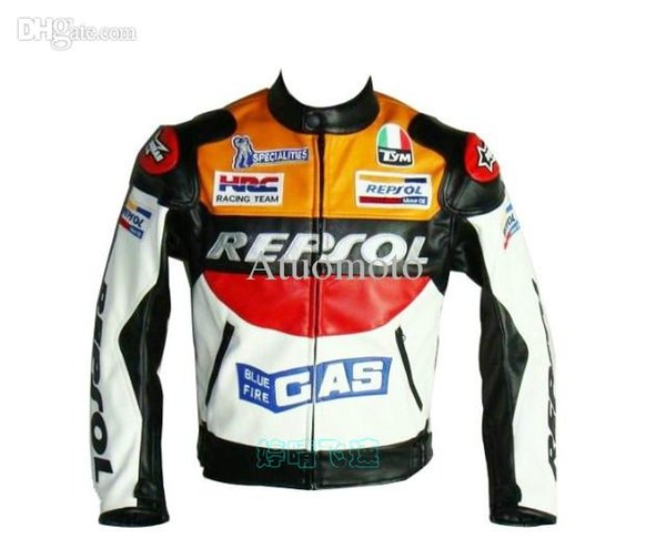 Wholesale-wholesale-2015 New Motor GP motorcycle REPSOL Racing Leather Jacket /motorcycling jacket size S to XXL